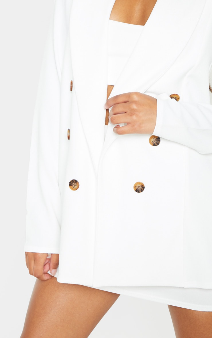 White Oversized Button Detail Blazer  5