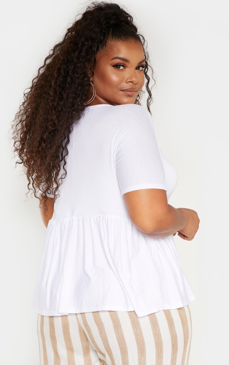 Plus White Frill Hem T Shirt 2