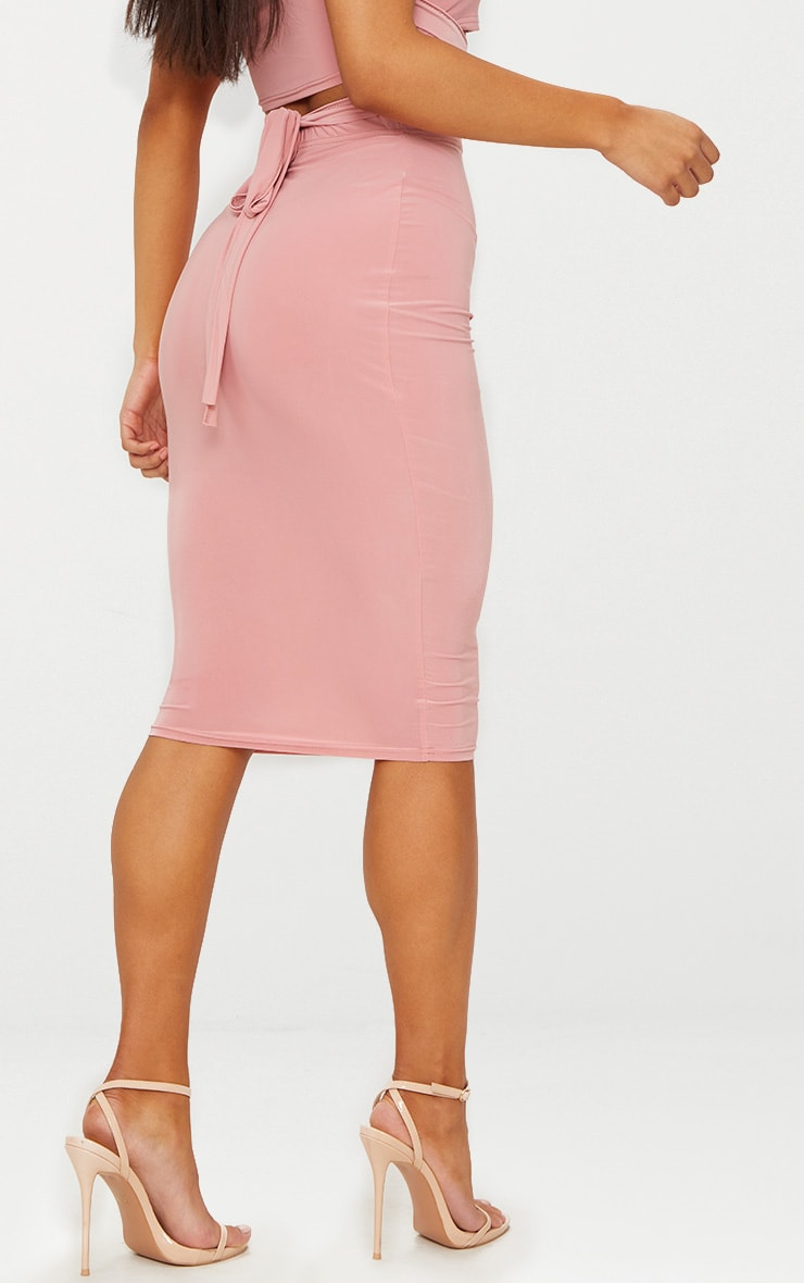 Rose Slinky Midi Skirt  4
