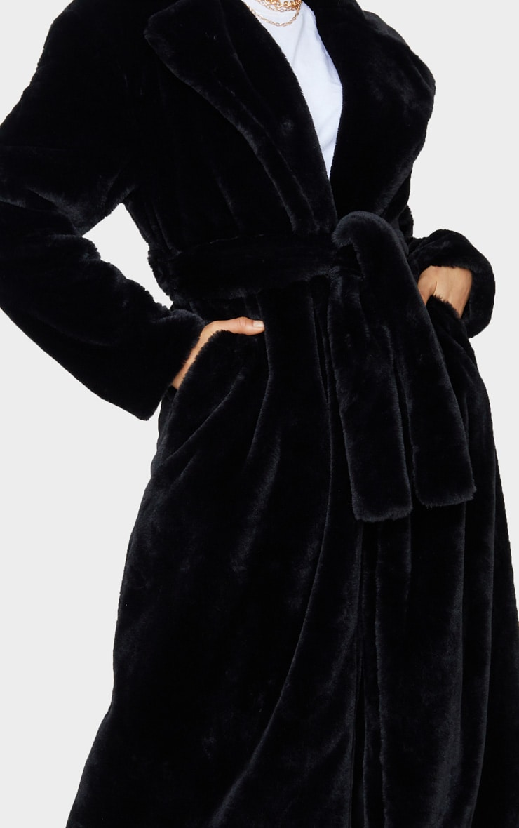 Tall Black Belted Faux Fur Coat 5