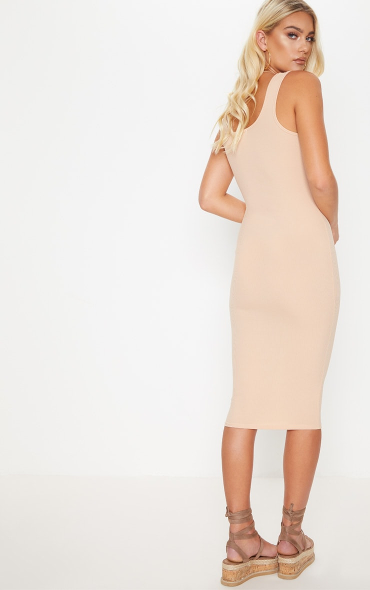Stone Ribbed Button Detail Midi Dress 2