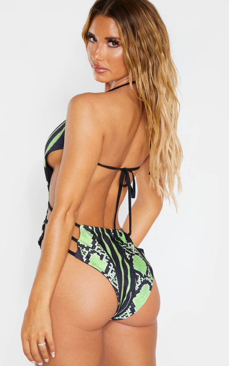 Lime Snake Print Strap Detail Plunge Swimsuit 3