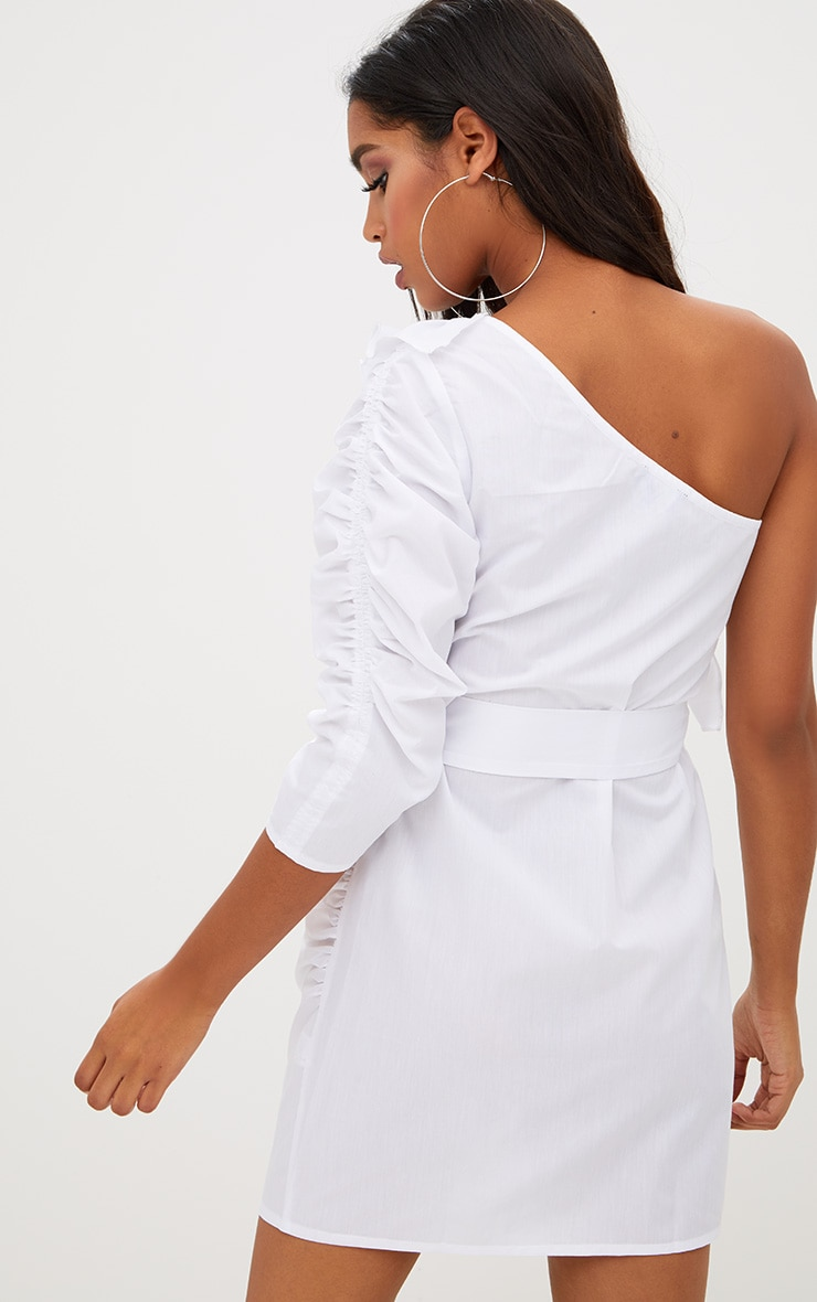 White One Shoulder Frill Detail O Ring Bodycon Dress 2