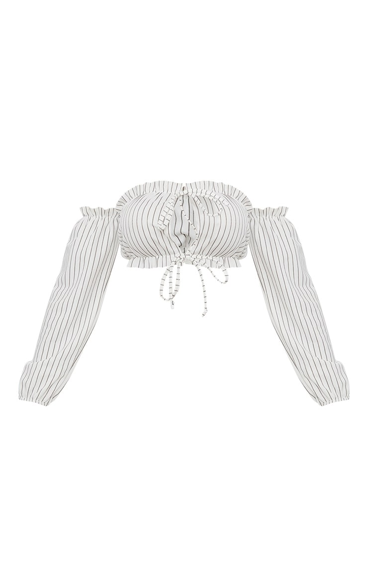 White Ruched Stripe Detail Tie Front Puff Sleeve Crop Top 3