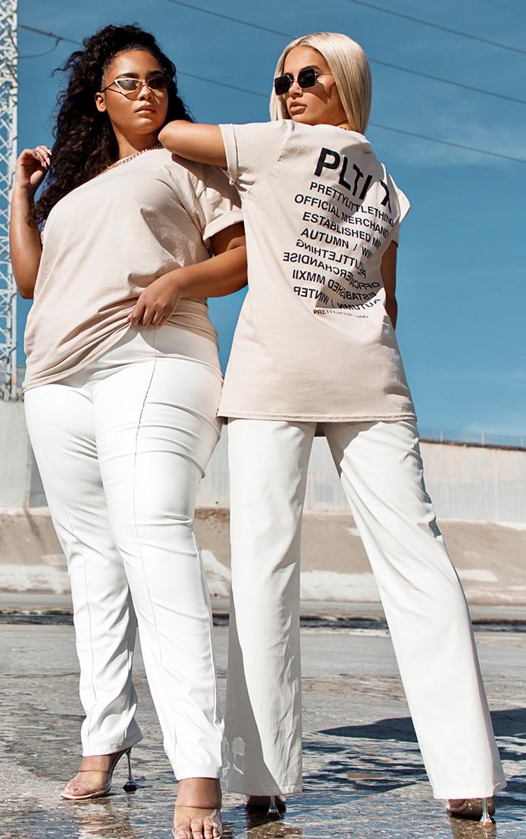 PRETTYLITTLETHING - Tee-shirt gris pierre à slogan au dos 1