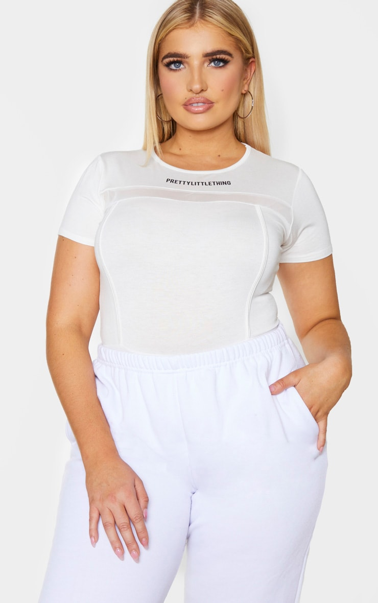 PRETTYLITTLETHING Plus Cream Mesh Panel Bodysuit 3