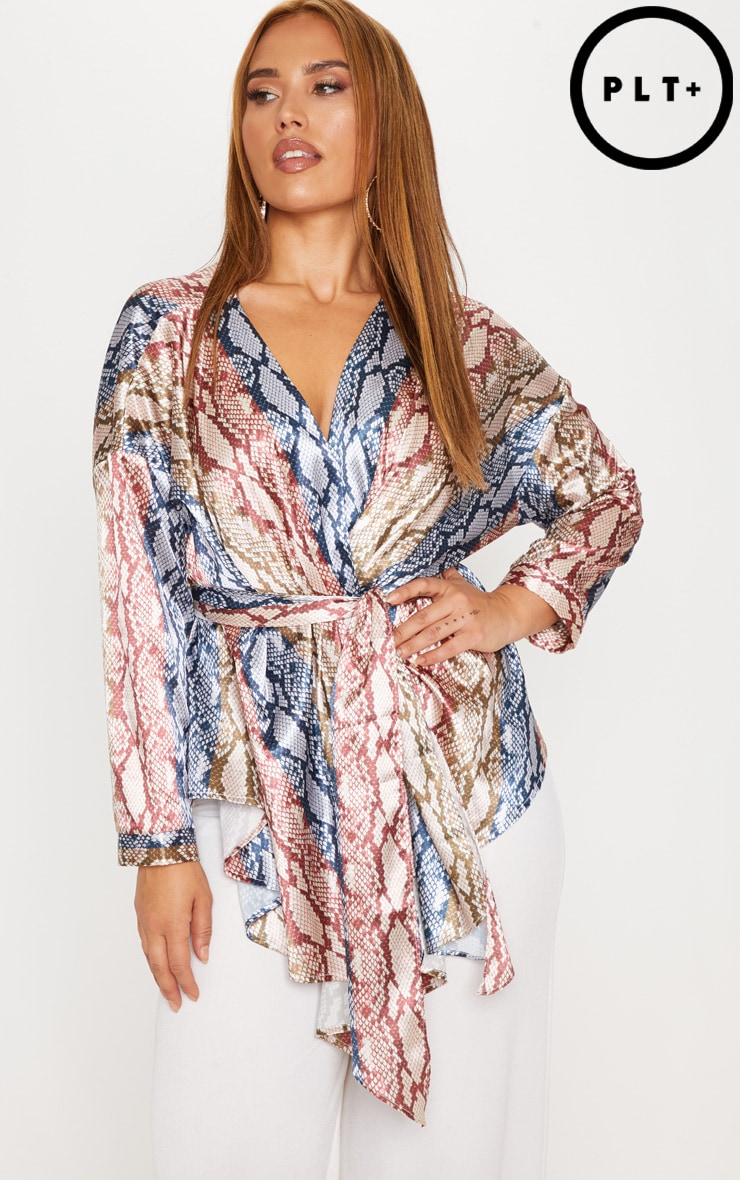 Plus Pink Woven Snake Print Tie Waist Top