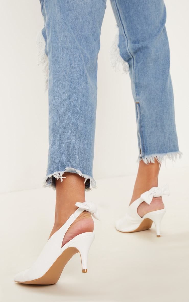 White Bow Back Slingback Mule  1