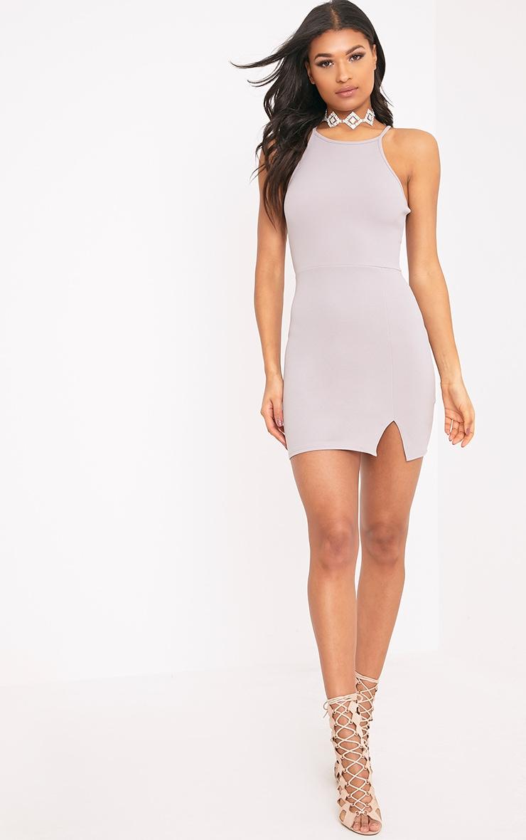 Aniqah Dove Grey High Neck Split Detail Bodycon Dress 3