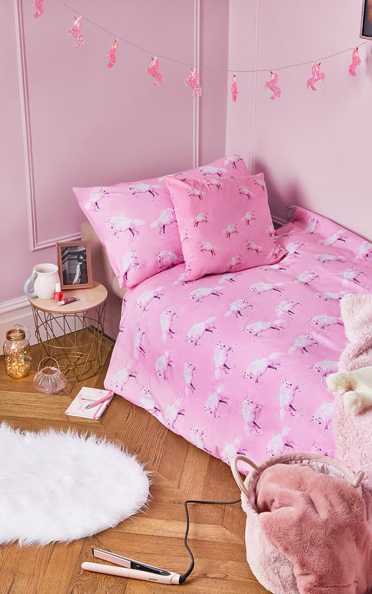 PRETTYLITTLETHING Pink Unicorn Single Duvet Set 1