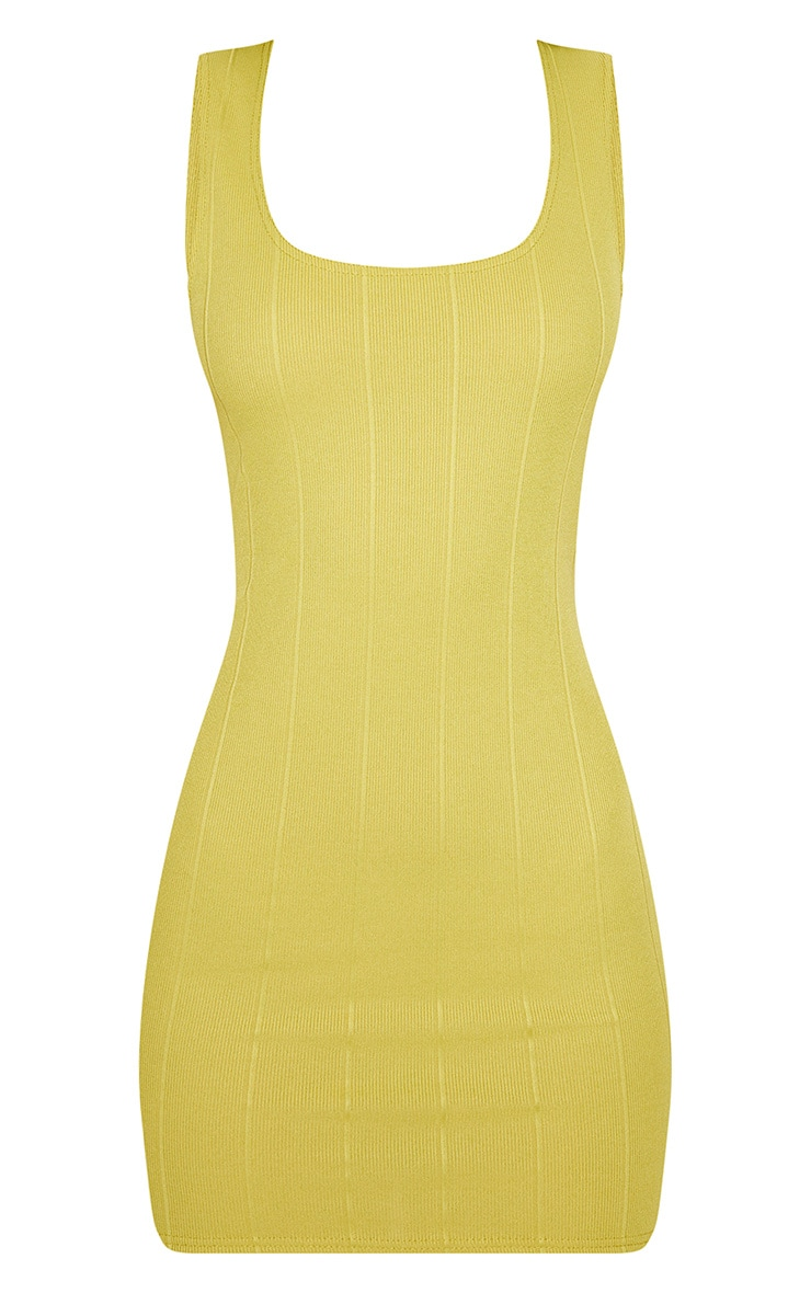 Lime Bandage Square Neck Bodycon Dress 3