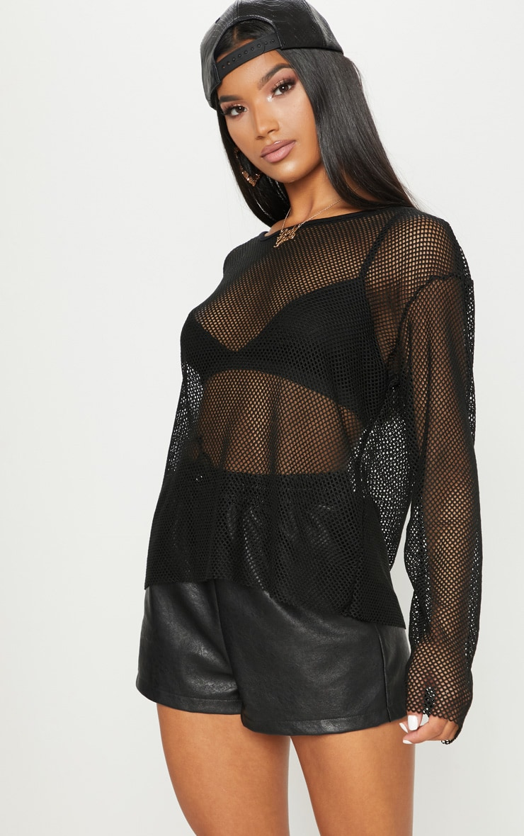 Black Fishnet Oversized Long Sleeve Top  1