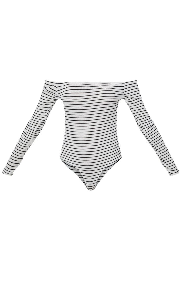 White Stripe Bardot Long Sleeve Thong Bodysuit  3