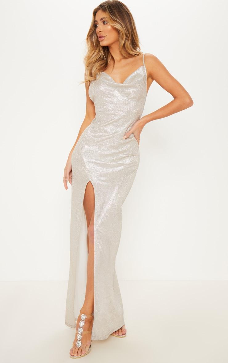 Silver Metallic Cowl Split Leg Maxi Dress 4