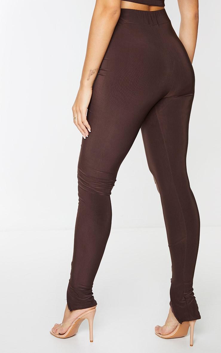 Chocolate Brown Slinky Seam Front Split Hem Leggings 3
