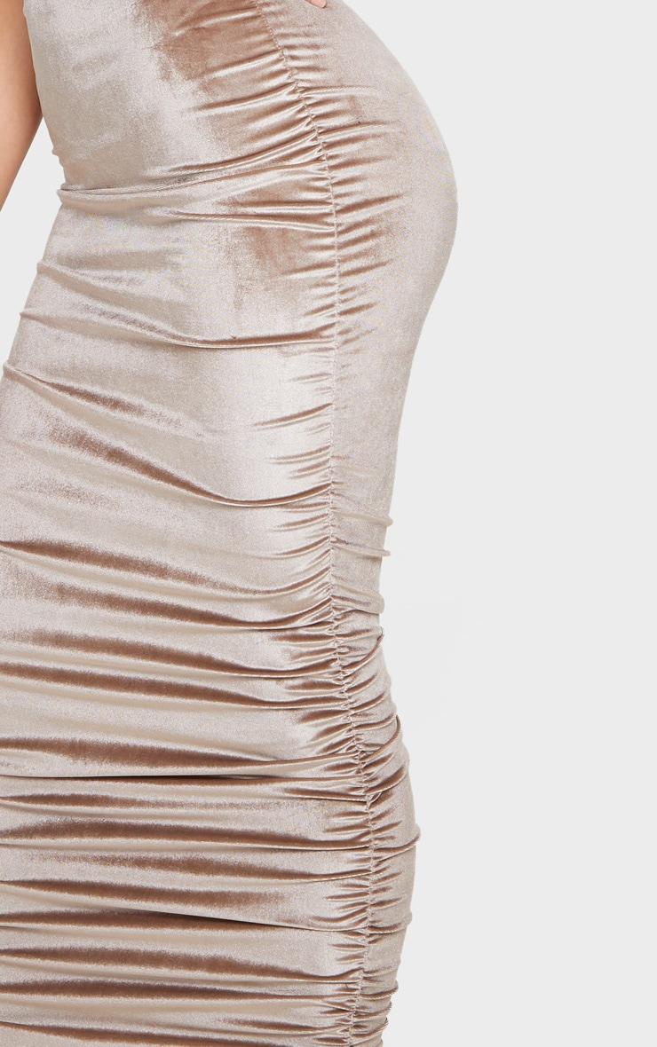 Mocha Velvet Strappy Ruched Midi Dress 4