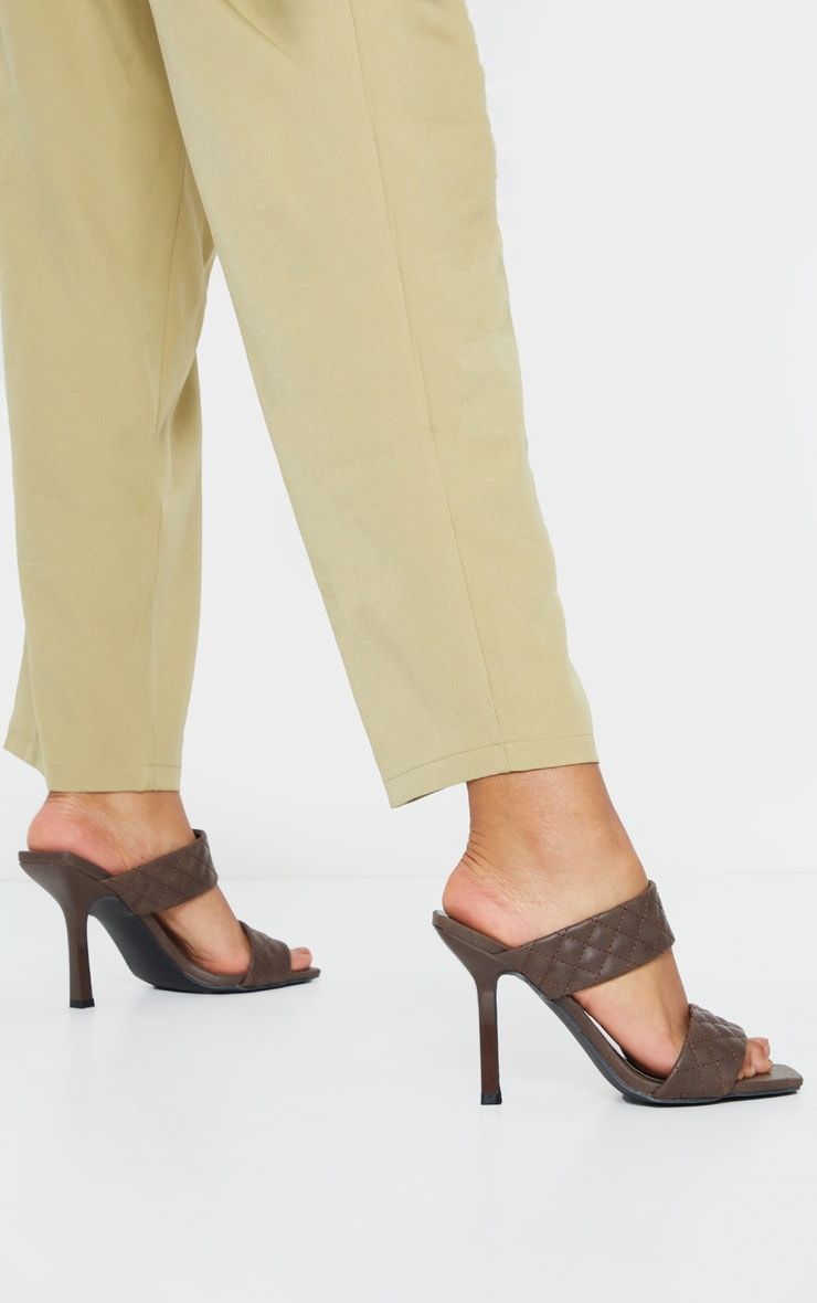 Chocolate Twin Strap Quilted Mule Heels 2