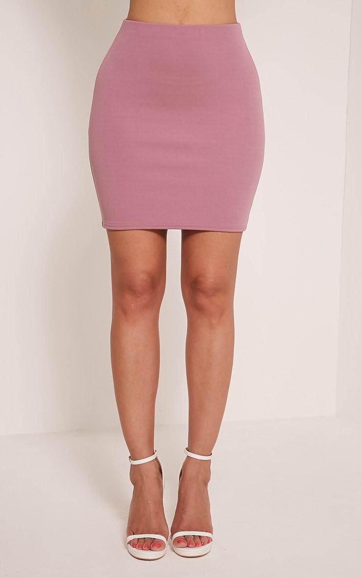 Erasma Mauve Scuba Mini Skirt 2