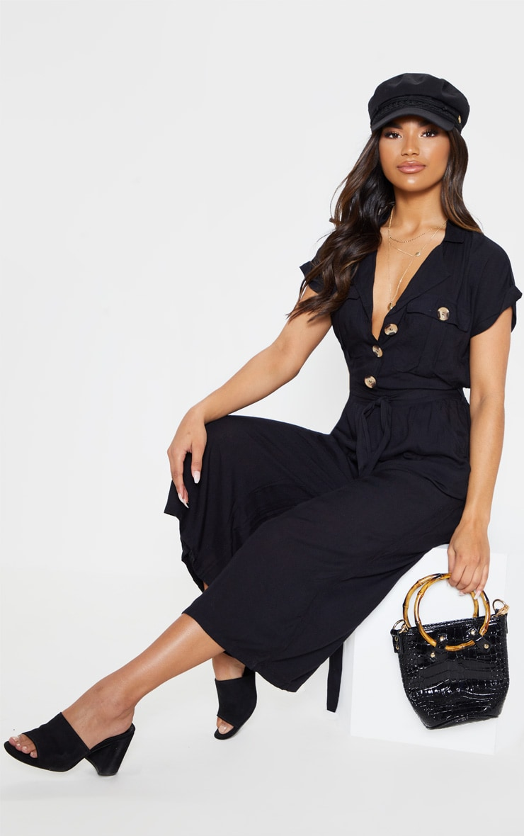 Black Tortoise Shell Button Pocket Detail Culotte Jumpsuit 1