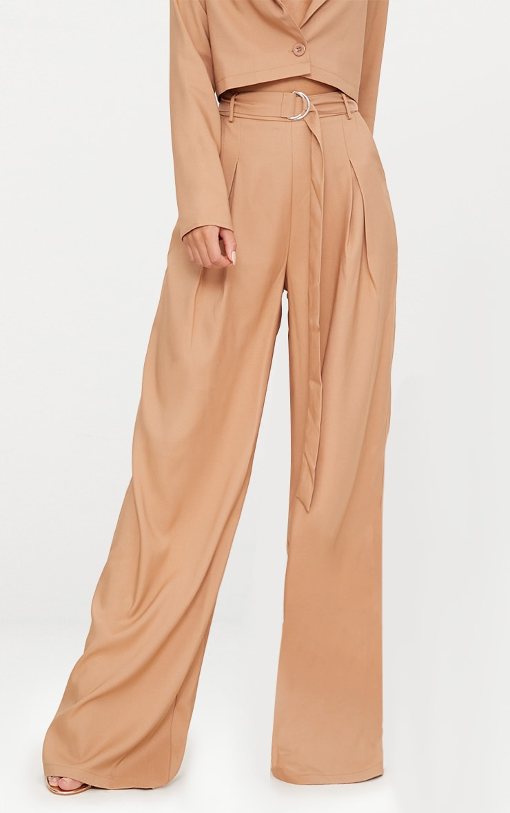 Camel Wide Leg Tie Waist Trousers 2