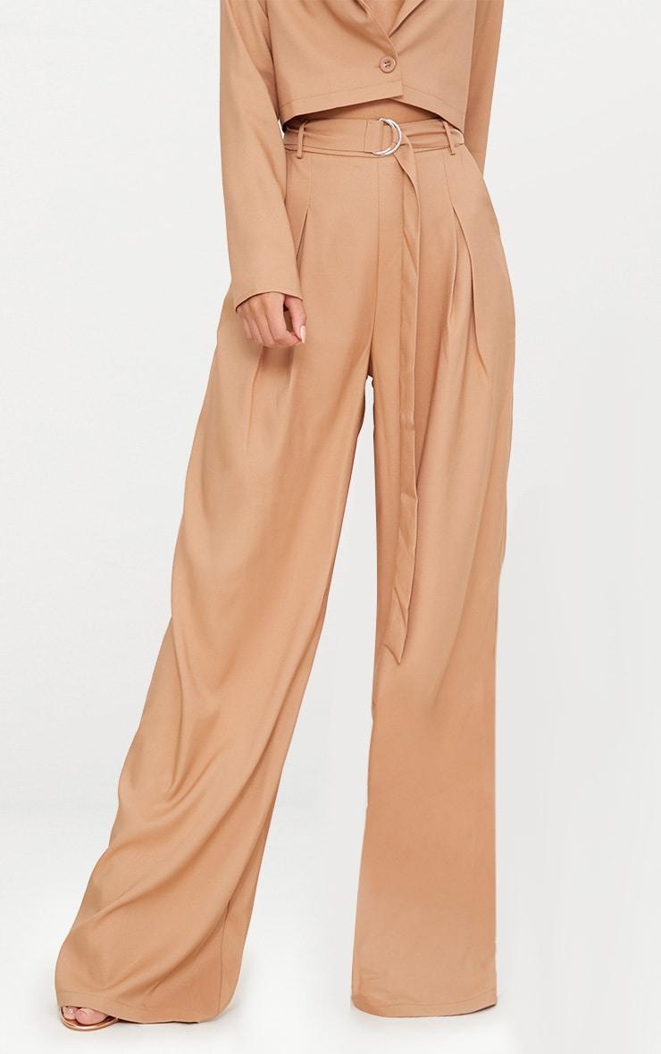 Camel Wide Leg Tie Waist Pants 2