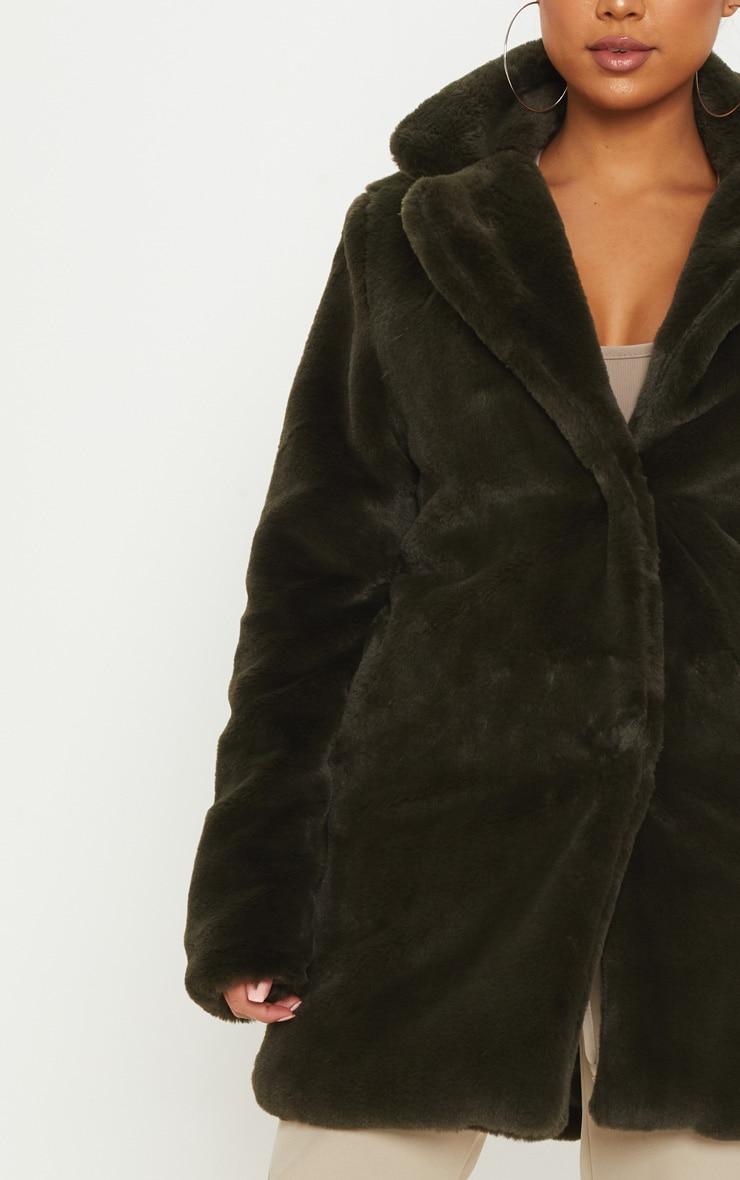 Petite Olive Green Faux Fur Coat 5