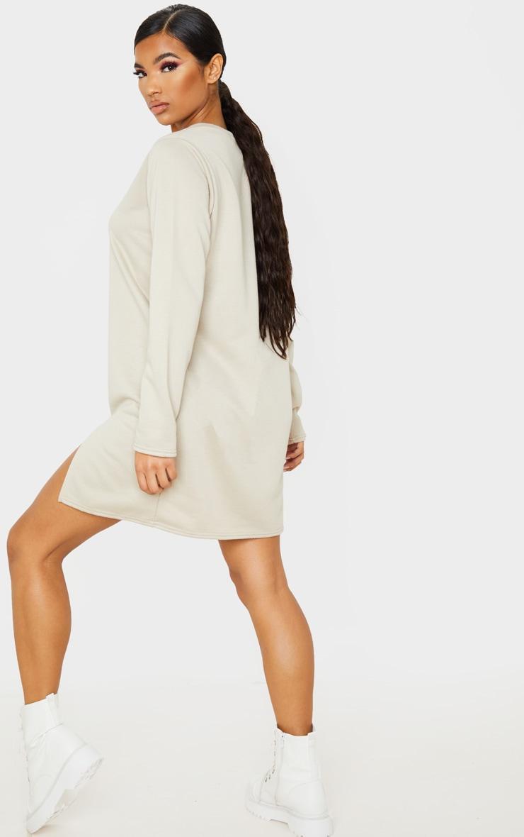 Beige Long Sleeve Split Hem Sweater Dress 3