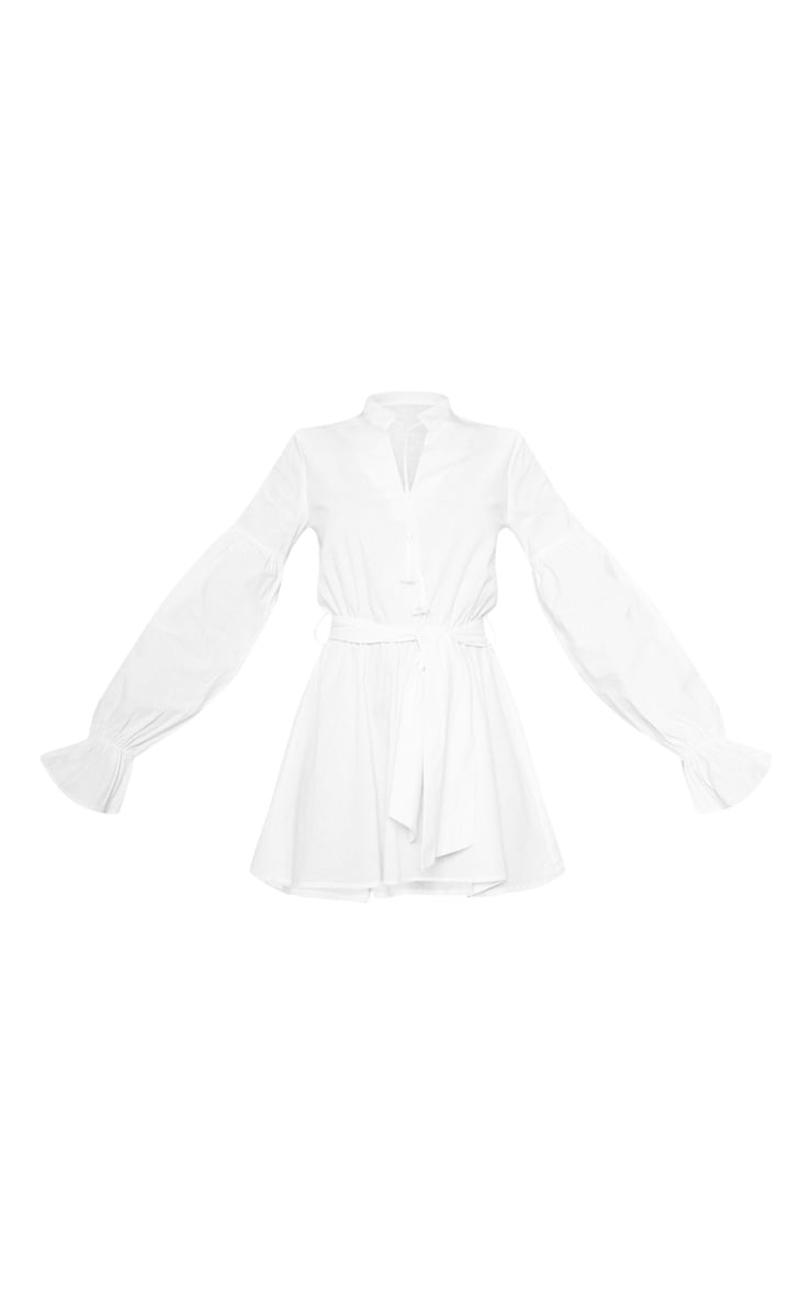 White Balloon Sleeve Tie Skater Dress 3
