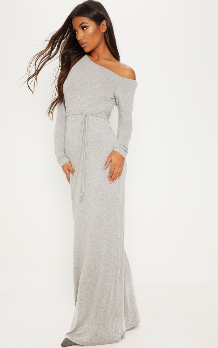 Grey Off The Shoulder Tie Waist Maxi Dress