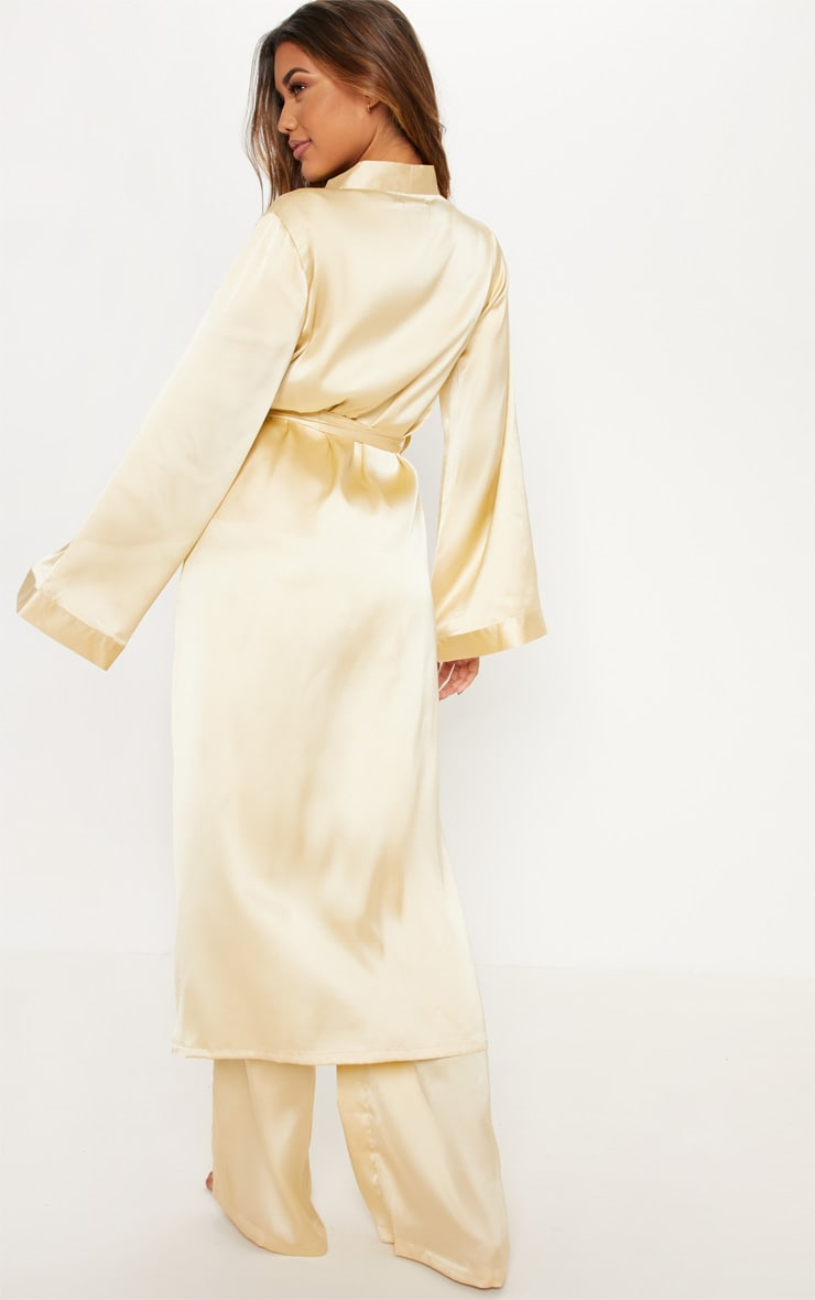 Champagne Basic Satin Robe 2