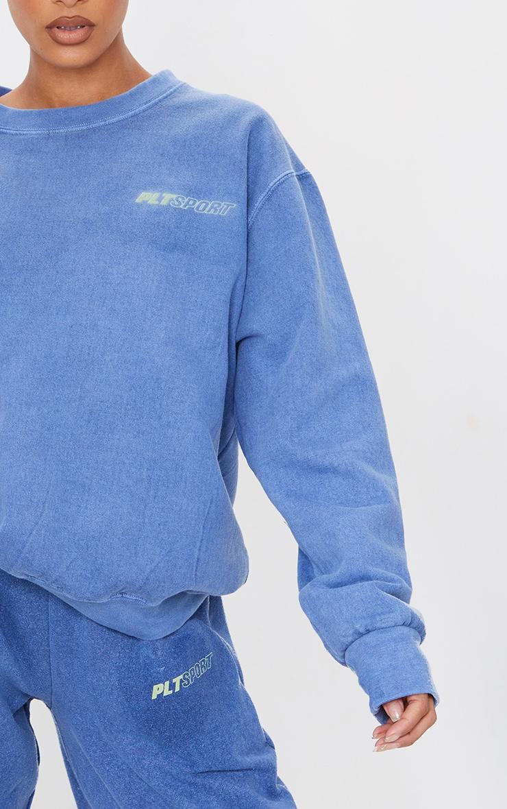 PRETTYLITTLETHING Blue Oversized Sport Sweatshirt 4