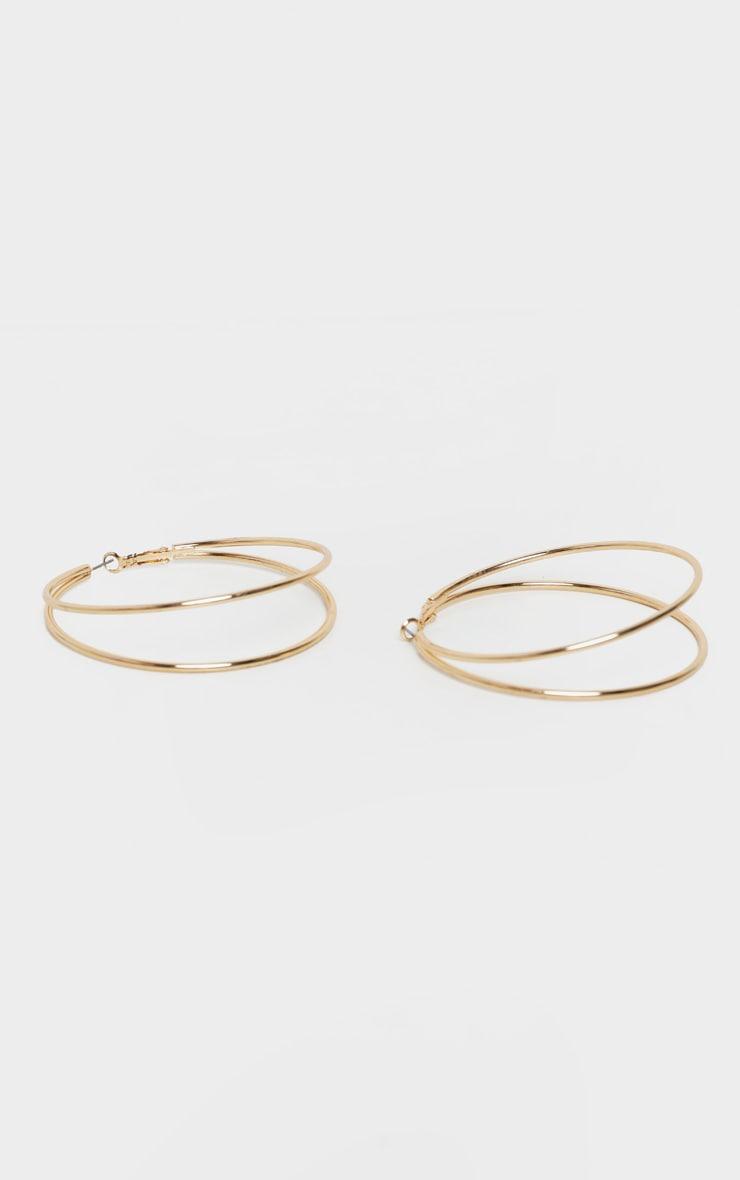 Gold Double Medium Hoop Earrings 2