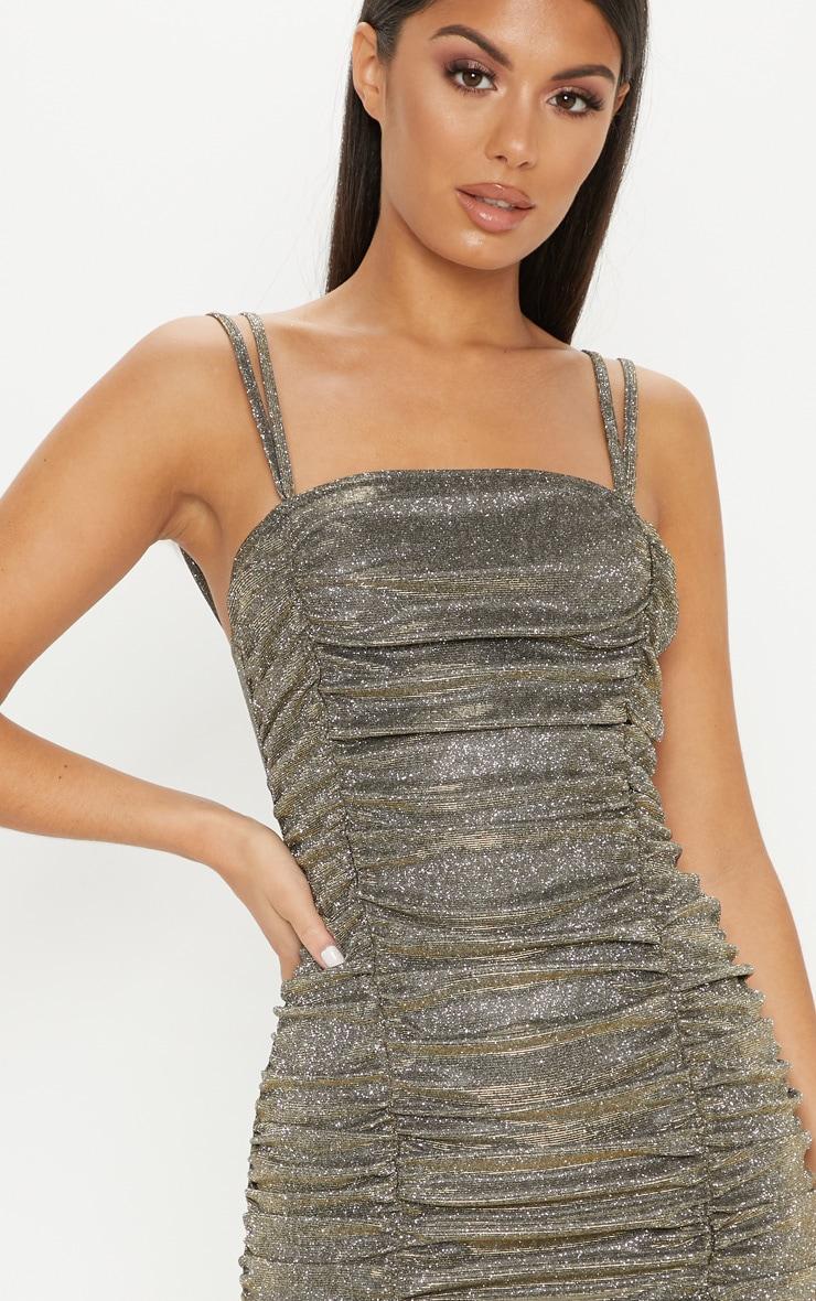 Gold Glitter Metallic Ruched Bodycon Dress 5