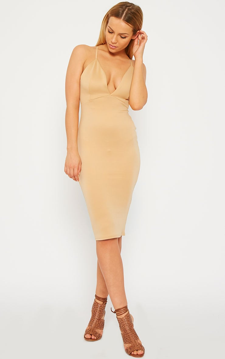 Nada Peach Plunge Cross Back Midi Dress 1