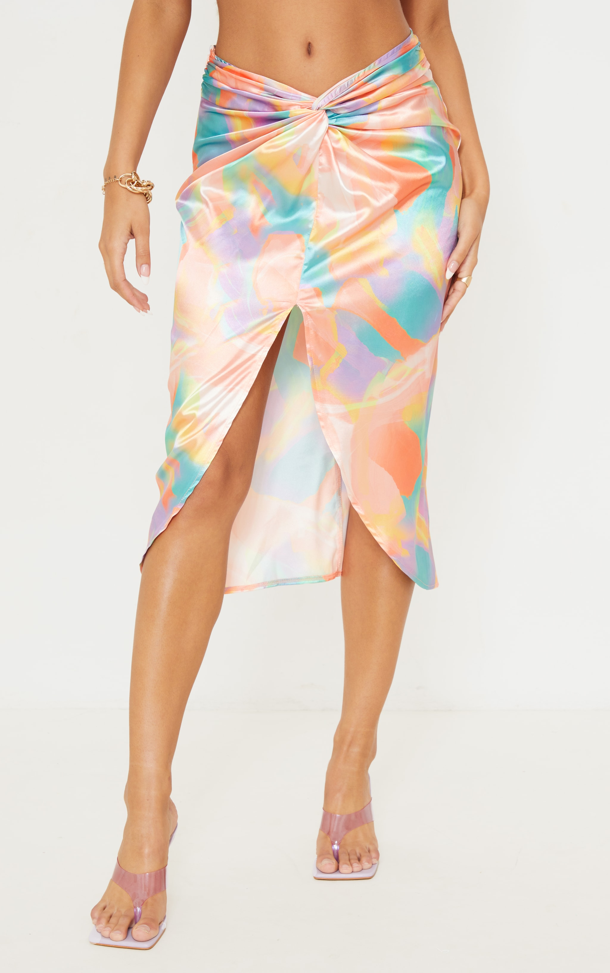 Multi Pastel Print Satin Shimmer Twist Front Midi Skirt 2