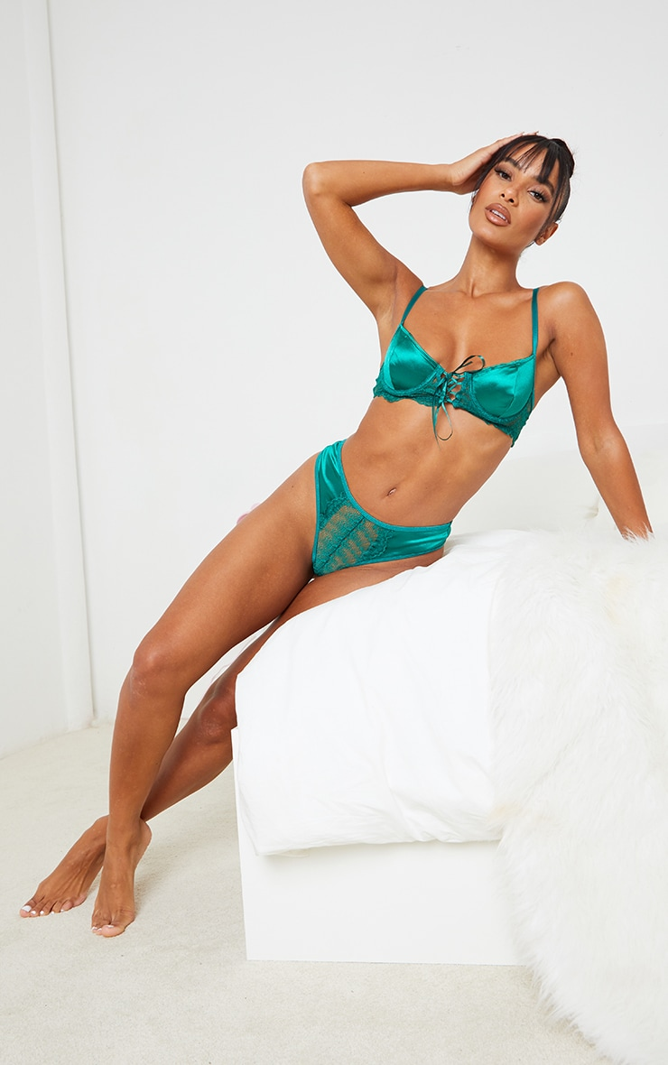 Emerald Green Lace Front Panel Satin Thong 3