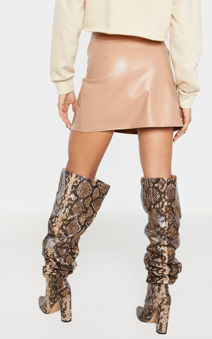 Tan Faux Leather A Line Skirt  4