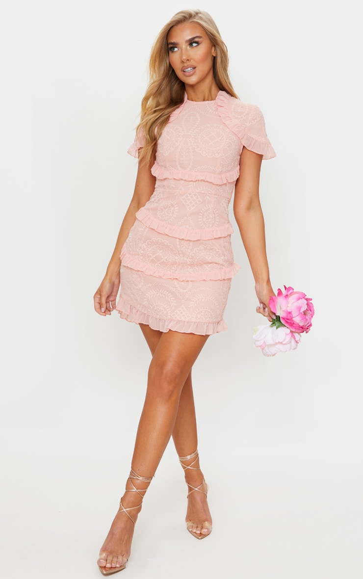 Dusty Pink Broderie Anglaise Frill Bodycon Dress 3