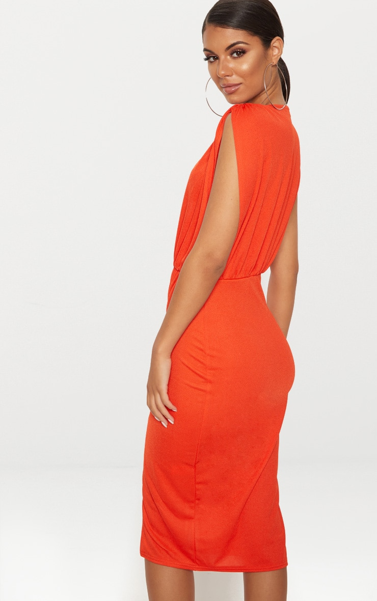 Bright Orange Ruched Shoulder Plunge Midi Dress 2