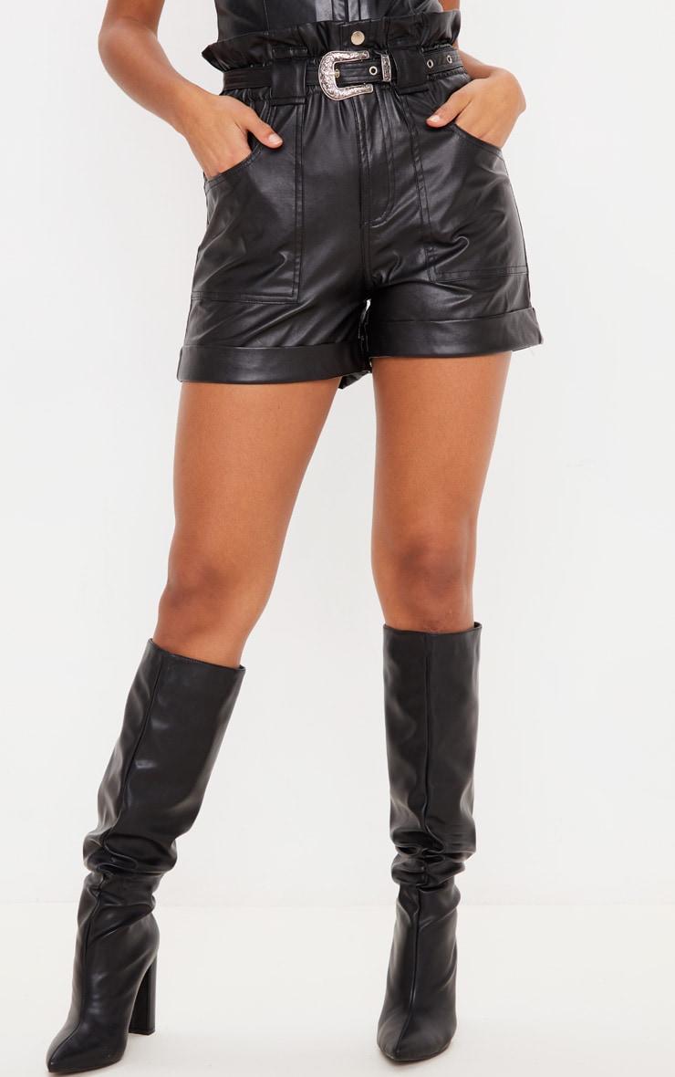 Black Western Belt Faux Leather Shorts 2
