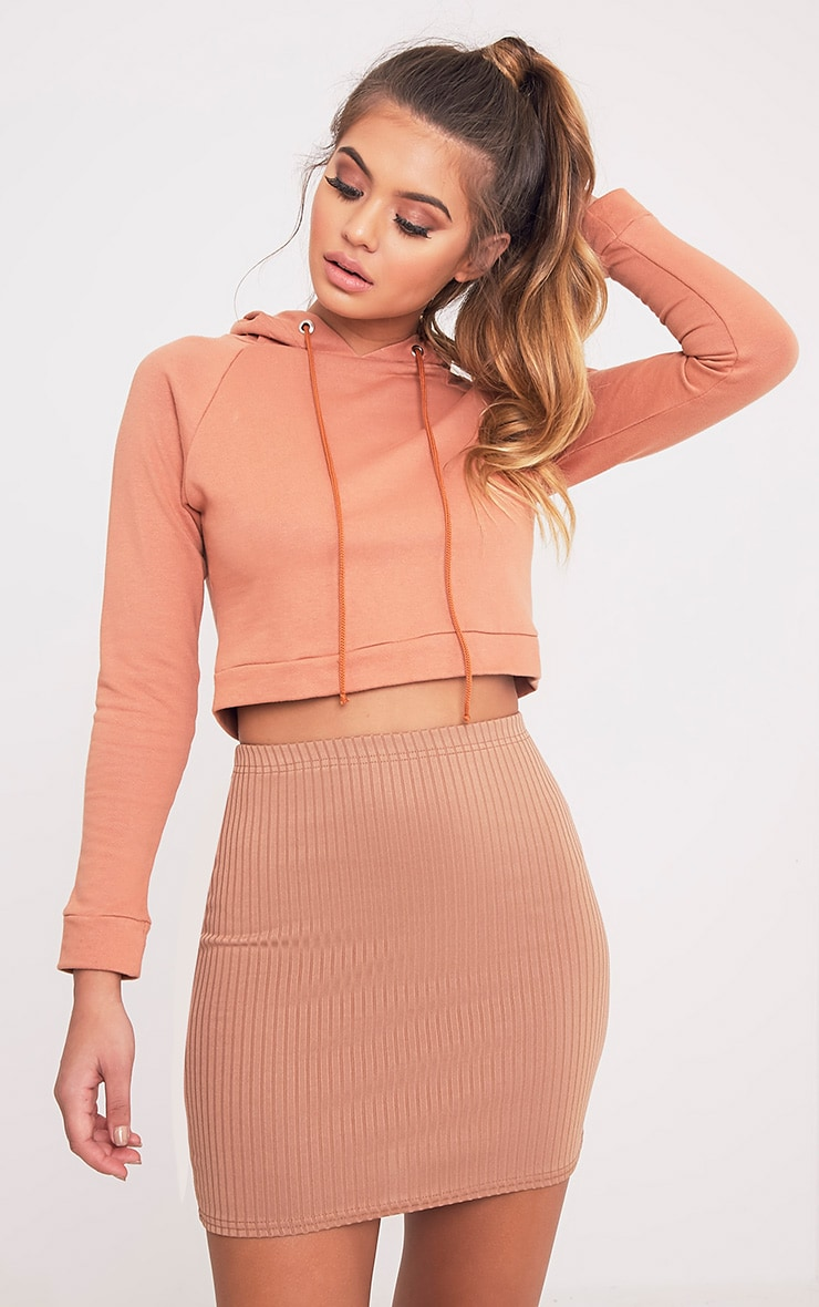 Kristine Camel Ribbed Mini Skirt 1