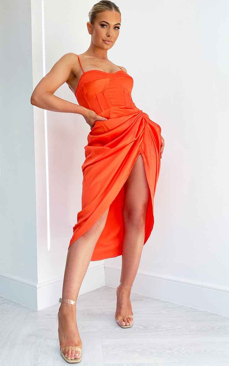 Bright Orange Satin Ruched Skirt Corset Detail Midi Dress image 1
