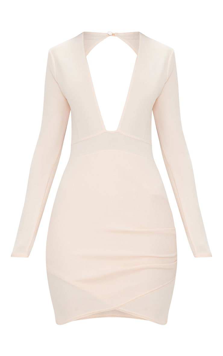 Nude Plunge Cut Out Back Wrap Skirt Bodycon Dress 3