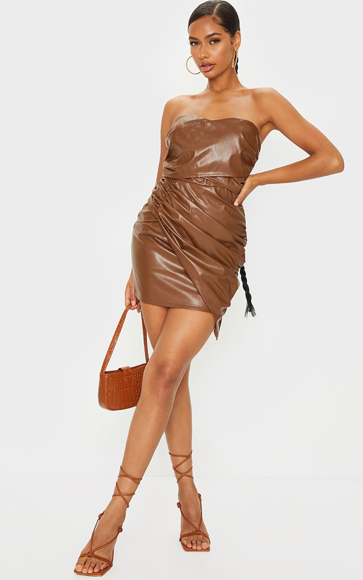 Chocolate Faux Leather Ruched Drape Bandeau Bodycon Dress 3