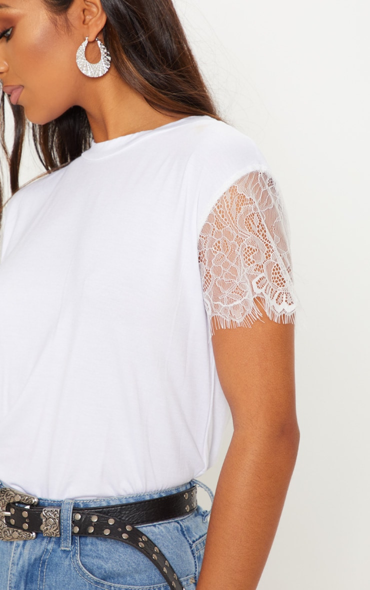 Rain White Eyelash Lace Sleeve Oversized T Shirt  5