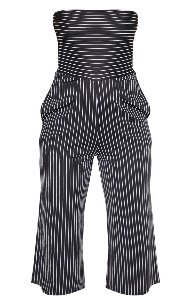 Black Pinstripe Bandeau Culotte Jumpsuit 3
