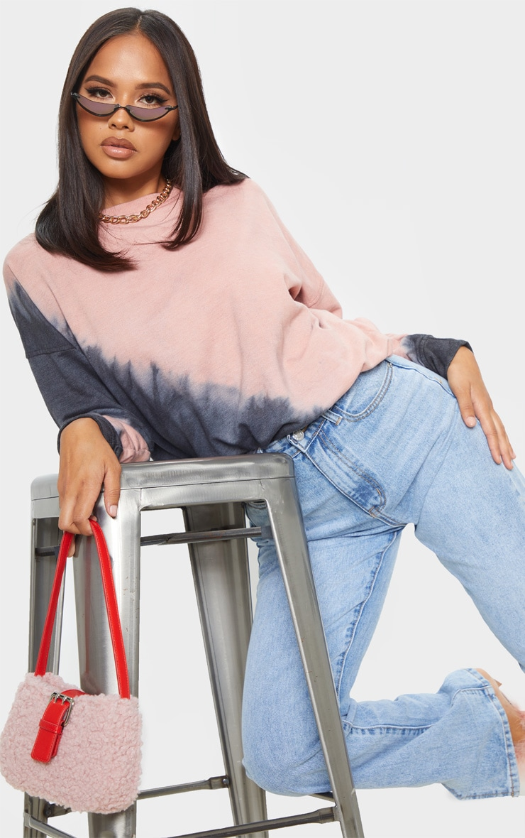 Black Tie Dye Washed Oversized Sweatshirt 1