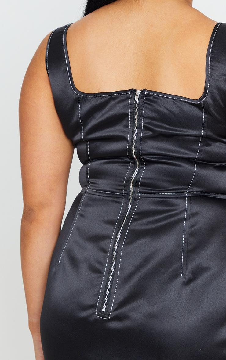 Plus Black Contrast Stitch Skater Dress 4