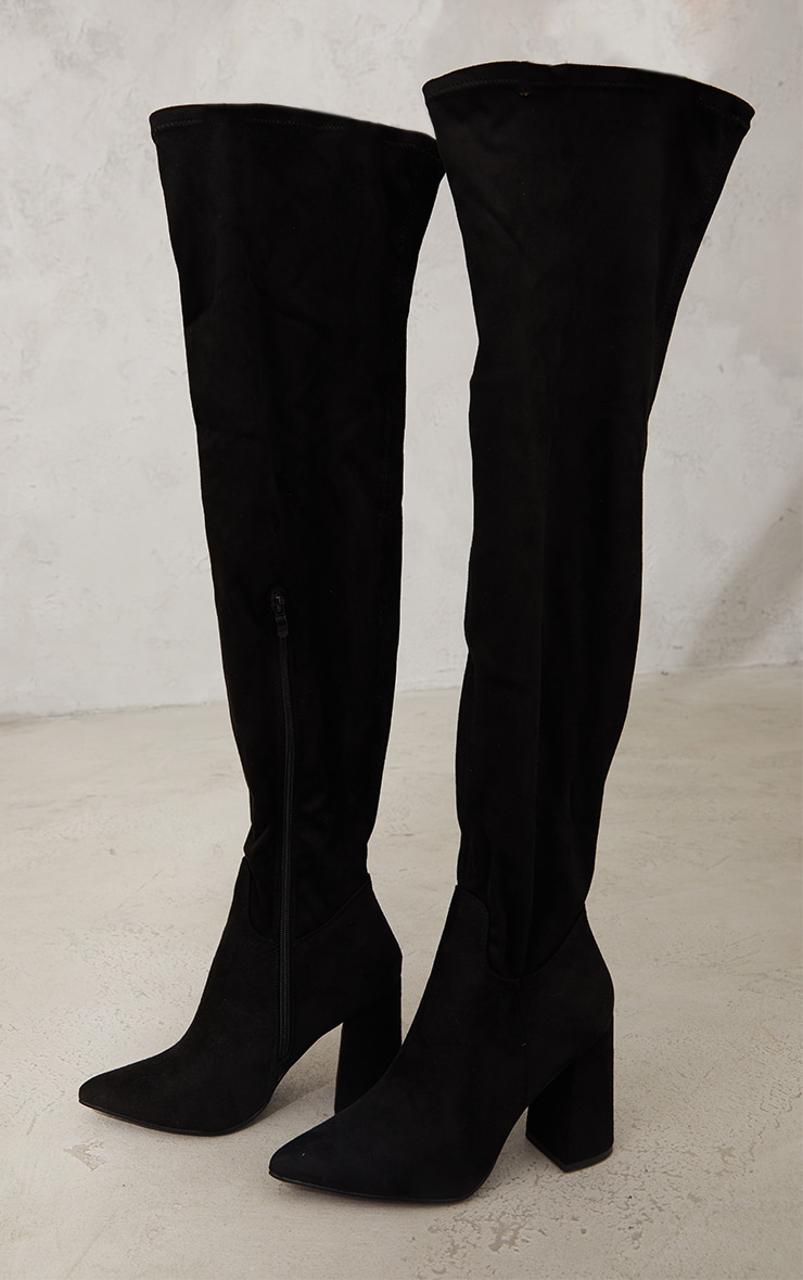 Black Wide Fit Point Toe Over The Knee Boots 3