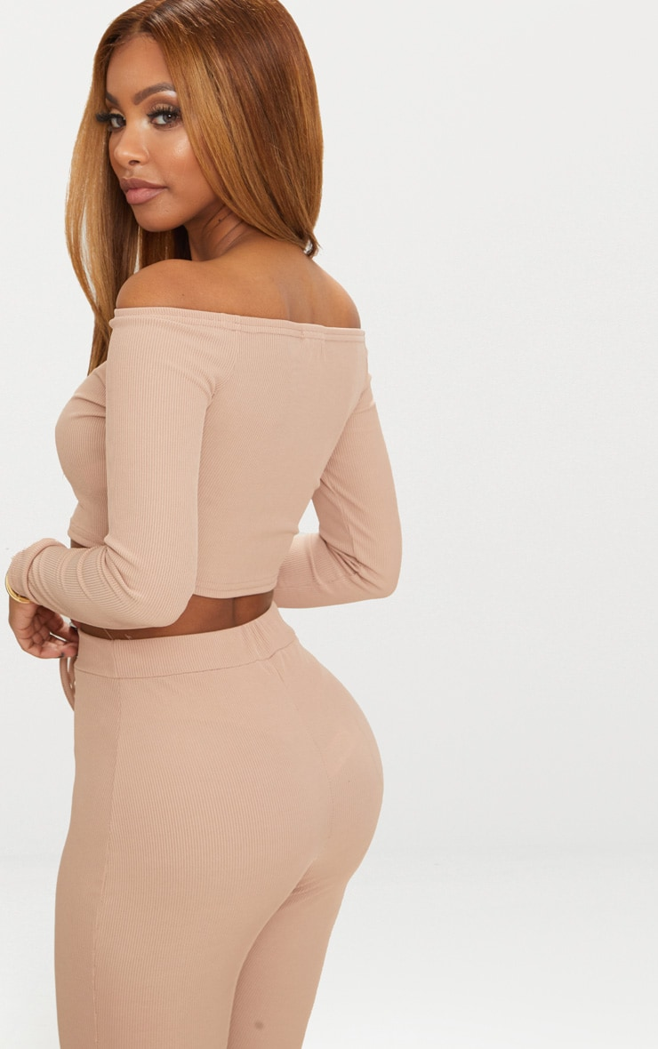 Shape Nude Ribbed Bardot Long Sleeve Crop Top 2